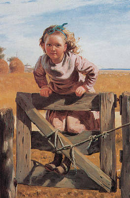 Swinging On A Gate Detail Poster by John Brown