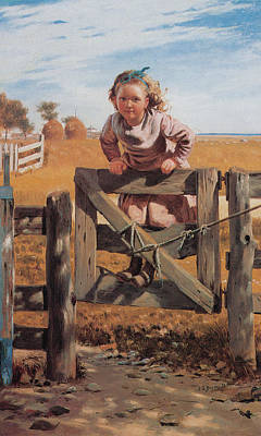 Swinging On A Gate Poster by John Brown