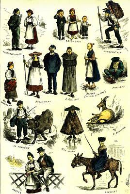 Switzerland Swiss Folk In 1883 Poster by Swiss School