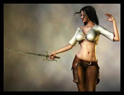Poster featuring the digital art Sword Girl by Kaylee Mason