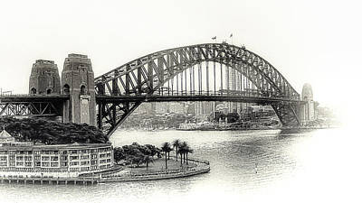 Sydney Bridge In Black And White Poster