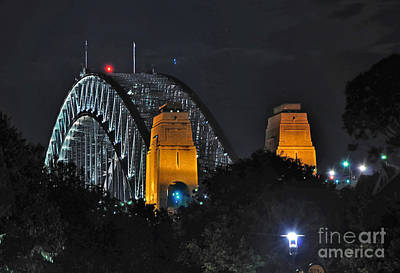 Sydney Harbour Bridge By Night - Different Perspective Poster by Kaye Menner