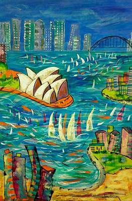 Poster featuring the painting Sydney Harbour by Lyn Olsen