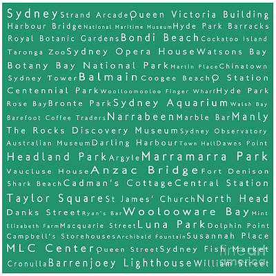 Sydney In Words Algae Poster