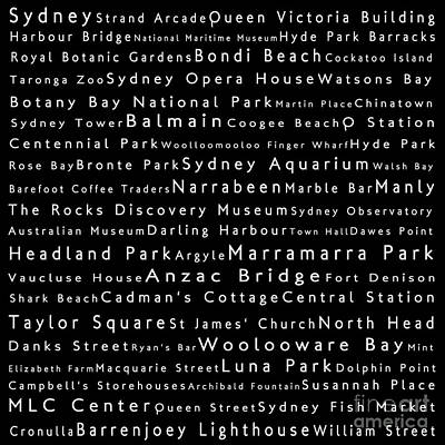 Sydney In Words Black Poster