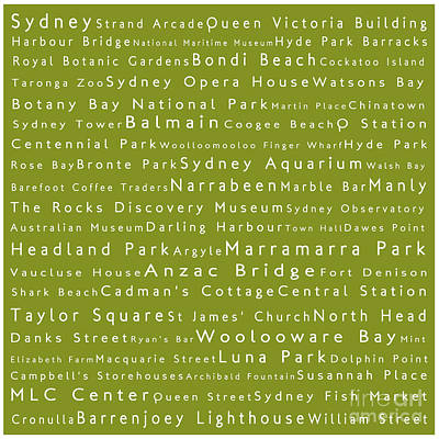 Sydney In Words Olive Poster
