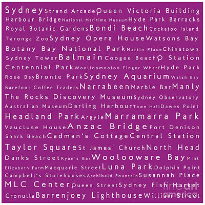 Sydney In Words Pink Poster