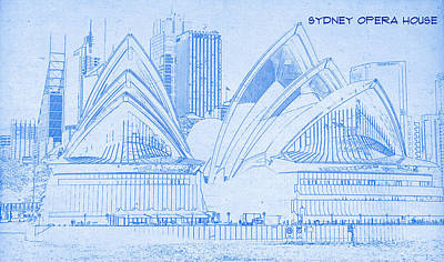 Sydney Opera House - Blueprint Drawing Poster by MotionAge Designs