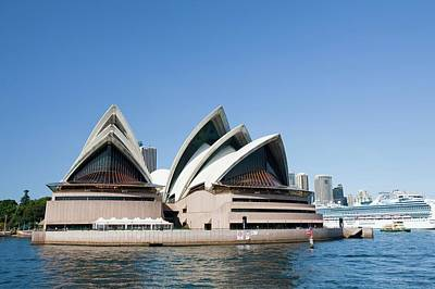 Sydney Opera House And Large Cruise Liner Poster by Ashley Cooper
