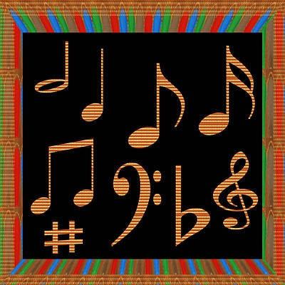 Symbol Art  Dancing Music Notes Golden Sparkle Beautiful Border Multi Layered Art Navinjoshi Signatu Poster