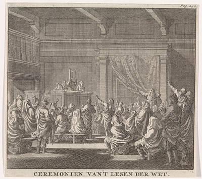 Synagogue Where A Rabbi Reads, Print Maker Jan Luyken Poster