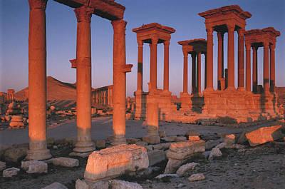 Syria, The Great Tetra Pylon At Palmyra Poster by Steve Roxbury