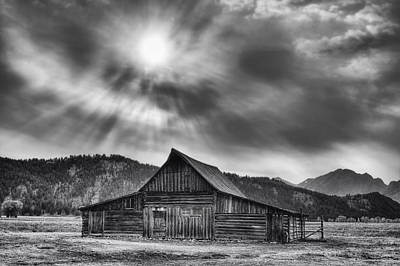 T.a. Moulton Barn - Black And White Poster by Mark Kiver