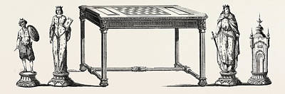 Table And Main Parts Of A Chess Game, Executed In Ebony Poster by English School