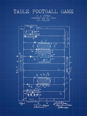 Table Football Game Patent From 1933 - Blueprint Poster by Aged Pixel