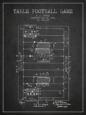 Table Football Game Patent From 1933 - Charcoal Poster by Aged Pixel