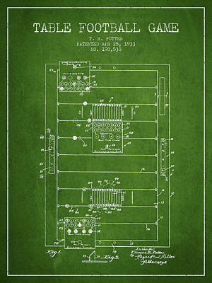 Table Football Game Patent From 1933 - Green Poster by Aged Pixel