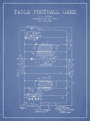 Table Football Game Patent From 1933 - Light Blue Poster by Aged Pixel