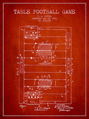 Table Football Game Patent From 1933 - Red Poster by Aged Pixel