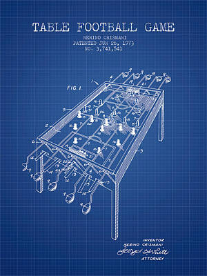 Table Football Game Patent From 1973 - Blueprint Poster by Aged Pixel