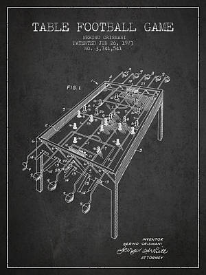 Table Football Game Patent From 1973 - Charcoal Poster by Aged Pixel