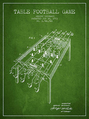Table Football Game Patent From 1973 - Green Poster by Aged Pixel