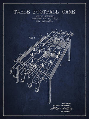 Table Football Game Patent From 1973 - Navy Blue Poster by Aged Pixel