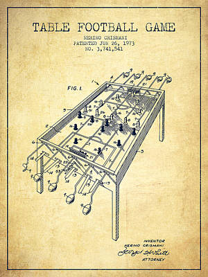 Table Football Game Patent From 1973 - Vintage Poster by Aged Pixel