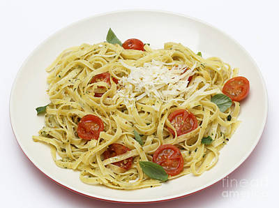 Tagliatelle With Pesto And Tomatoes Poster by Paul Cowan