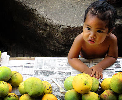Tahitian Baby In Market Poster