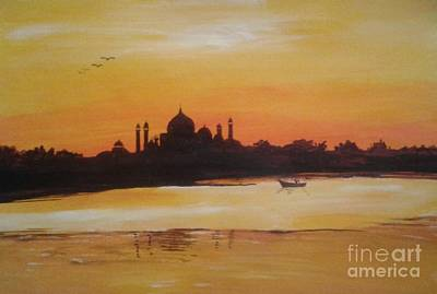 taj Mahal in the morning Poster by Sanjay Punekar