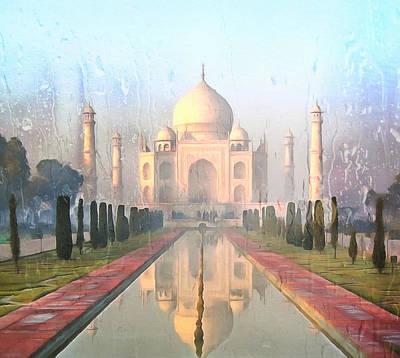Taj Mahal In The Rain Poster
