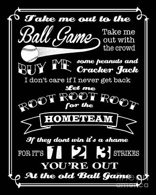 Take Me Out To The Ball Game - Black Background Poster by Ginny Gaura