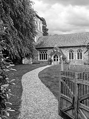 Take The Right Path - Church Black And White Poster by Gill Billington