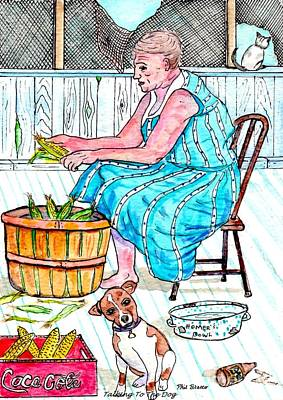 Talking To The Dog - Sitting On The Front Porch Poster by Philip Bracco