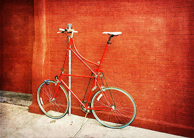 Tall Bike On Red Poster by Brooke T Ryan