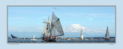 Tall Ship And Mt. Rainier Poster