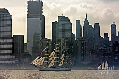 Tall Ship Sailing Past The New York Skyline Poster