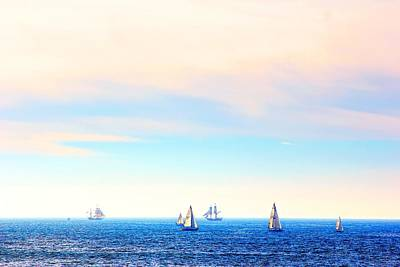 Tall Ships And Sail Boats Poster by Liz Vernand
