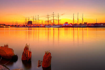 Tall Ships At Bay Poster by Fuad Azmat