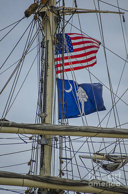 Poster featuring the photograph Tall Ships Flags by Dale Powell