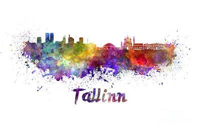Tallinn Skyline In Watercolor Poster