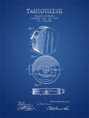 Tambourine Musical Instrument Patent From 1899 - Blueprint Poster by Aged Pixel