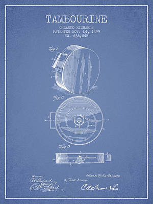 Tambourine Musical Instrument Patent From 1899 - Light Blue Poster by Aged Pixel