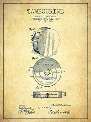 Tambourine Musical Instrument Patent From 1899 - Vintage Poster by Aged Pixel