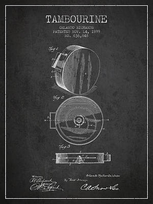 Tambourine Musical Instrument Patent From 1899 - Charcoal Poster by Aged Pixel