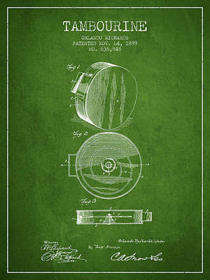 Tambourine Musical Instrument Patent From 1899 - Green Poster by Aged Pixel