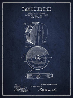 Tambourine Musical Instrument Patent From 1899 - Navy Blue Poster by Aged Pixel
