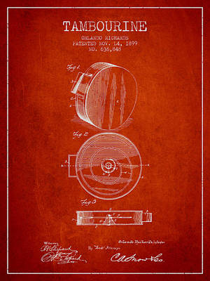 Tambourine Musical Instrument Patent From 1899 - Red Poster by Aged Pixel