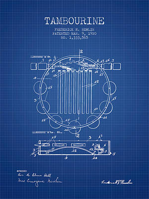 Tambourine Musical Instrument Patent From 1920 - Blueprint Poster by Aged Pixel